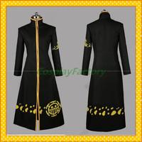 Free Shipping Custom Made One Piece Cosplay Trafalgar Law Cloak Costume,1kg/pc