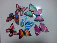 500 pcs/lot lovely plastic artificial butterfly fridge magnets/refrigeratory stick/icebox stick/simulate butterfly/mix colors