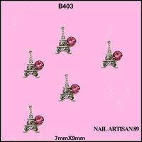 Shining Rhinestone Tower Shape Alloy Nail Decoration 3D Metal Nail Art Stickers 100pcs/lot Free Shipping Size: 7*9mm #B403