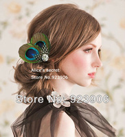 peacock  feather Bridal Hair Accessories, Feather, Hair Piece, Wedding Facinator,  hair clip