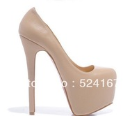 Top quality discount popular plateform pumps black sheep skin high heel dress shoes for women