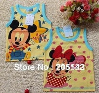 Free shipping! 2013 Cartoon print  1-4 years old baby t shirts, summer sleeveless cotton t-shirt for children, boy&girl t-shirts