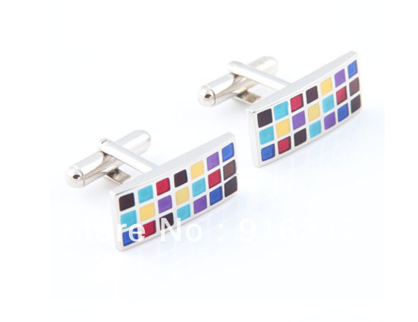 Enamel Rectangle Cufflinks Brand Cuff Links Square Metal Nails Costume Accessories TQ-CF61(China (Mainland))