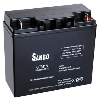 12V18 SANBO battery VRLA, SLA, UPS, Industrial battery Maintenance free lead acid battery