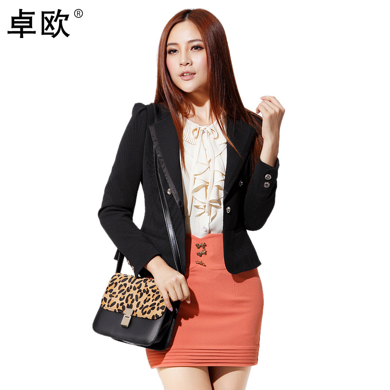 Hot sale 2012 women's solid color slim long-sleeve short jacket blazer suit pink c205008 free shipping(China (Mainland))