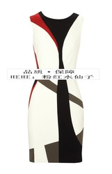 Km colorant match geometric patterns graphic tank dress one-piece dress o-neck slim dk055(China (Mainland))