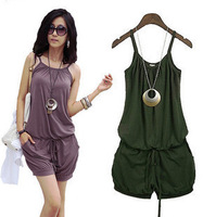 Free Shipping  Fashion Women Sleeveless Romper Strap Short Jumpsuit Scoop 3 Colors White, Black,Purple