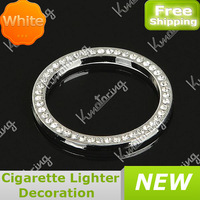 FREE SHIPPING White Cystal Car Ignition Key Ring Car Auto Interior Decorative Light Cigar Lighter Options