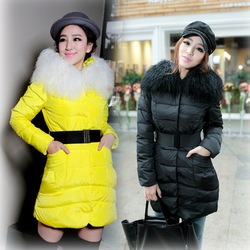 2012 winter high quality slim medium-long thickening tan fur collar down coat female(China (Mainland))