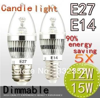 Free shipping High Power 5XE14 E27 4x3W 12W 5X3W 15W Dimmable AC85~265V LED Candel Light LED bulb lamp spotLight