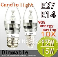 Free shipping High Power 10XE14 E27 4x3W 12W 5X3W 15W Dimmable AC85~265V LED Candel Light LED bulb lamp spotLight