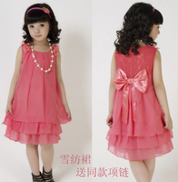 free shipping new items (2 colors 6 sizes) one piece children's clothing princess girls chiffon dress