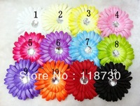 12pcs 4'' Gerbera Daisy Flowers with Hair Clips Baby Girls Head Flower Children Kid's Hair Accessories Free Shipping