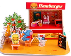 Possess your own store of hamburger, new educational 3D puzzles, 3 dimensional DIY products(China (Mainland))