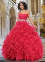 Yarn custom strapless sleeveless ball gown red evening dress