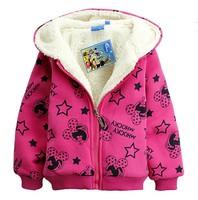free shipping cute  winter thicken  children coat  mickeys girl's  Outerwear zipper hoodies 2013 new best quality