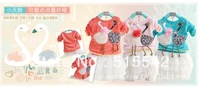 Free shipping 2013 New spring girl round collar lace bitter Children's wear girls' pink fall swan model dress 3sets/lot