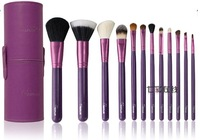 2013 NEW Arrival ! sixplus 12pcs Makeup Brush Set in Round Purple High Quality Leather Case
