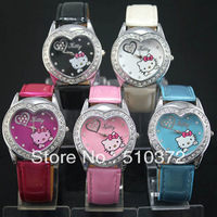 free shipping 10pcs/lot 5 COLOR CHOOSE lovely HELLO KITTY Heart Crystal Stone Girls Children Quartz Wrist watch