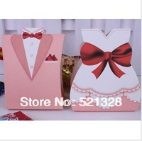 Groom & Bride Candy Box For Wedding And Party, Gloss Finish, Pink Free shipping XH008