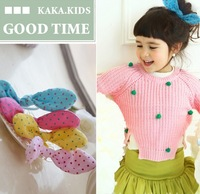 2013 New Arrival Fashion Children Rabbit Bunny Ears Filled Cotton Elastic Hair Band Hair Holder Ponytail Polk Dot Fabric