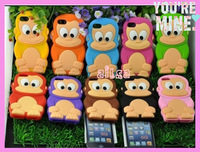 Free Shipping 2013 New Arrival Lovely 3D Cartoon Monkey Silicone Back Cover Case for Apple iPod Touch 4G 4 Gen Black