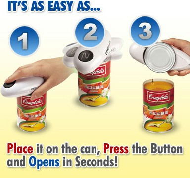 As Seen On TV eco-friendly one touch can opener steel material(China (Mainland))