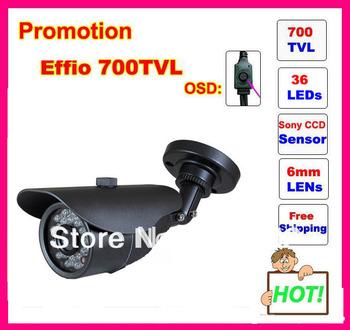 "Free Shipping Promotion Security 1/3"" Sony Effio-E CCD 700TVL OSD menu IR 30m outdoor waterproof CCTV camera with Bracket ."