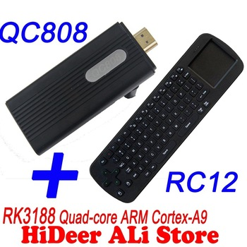 Quad Core RK3188 Cortex-A9 1.8GHz  andorid 4.2.2 jelly Bean 2G/8G mini pc Bluetooth WiFi HDMI QC808 + RC12 keyboard mouse
