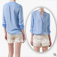 Free shipping Women's Blouses  2013 Fashion Shirt  Rivet Shoulder  V neck Shirt  Soild color Spring Style