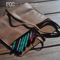 Roc handmade pencil case vintage straps genuine leather commercial pencil case storage bag fashionable casual pencil case