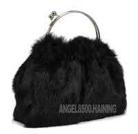 Fashion rabbit fur women's handbag quality full leather rabbit fur handbag small bag 2