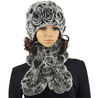 Fur hat scarf rose cap ruffle scarf 2 piece set kit 3