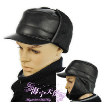 Genuine leather men's hat flat winter hat genuine leather benn ear protector cap black full leather
