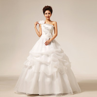 New Arrival 2013 Puff Skirt One Shoulder Princess Bride Wedding Dress/Bridal Gown Free Shipping!