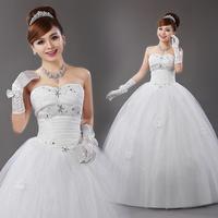 New Arrival Sweet Princess Tube Top Handmade Sparkling Rhinestone Wedding Dress Free Shipping!