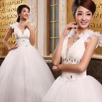 New Arrival V-neck Bridal Spaghetti Strap Princess Puff Skirt Wedding Dress  Free Shipping!