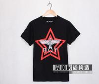 Fashion men boy fiv star print short sleeve t-shirt eagle print tees tops tank lover shirts white black
