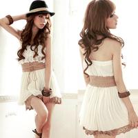 2014 Sexy Sweet Women Strapless Tiered Lace Crochet Hem Mini Dress White Lace-up