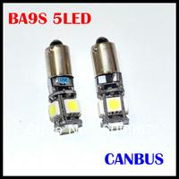 Free shipping BA9S 5 SMD 5050 White CANBUS Error Free Interior Car H6W 5 LED Light Lamp Bulb  12V