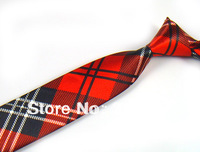Mens Slim Necktie 2 Inch Black Red With White Patterned Plaid Skinny Neck Ties Free Shipping 10 PCS