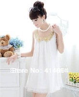 Free shipping 2014 Summer 100% High quality Elegant pleated chiffon white casual Maternity dress,maternity clothing F2795#