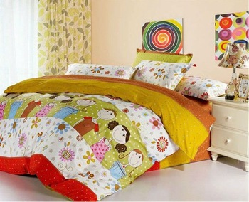 Free shipping! High-quality wholesale Queen size 4pcs yellow bedding set doona duvet covers/100%cotton printing bedclothes1047