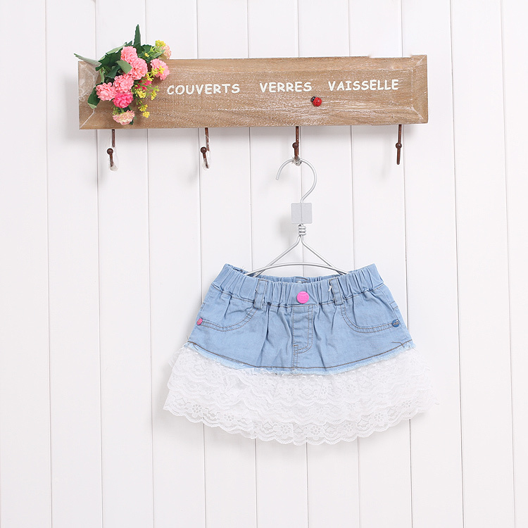 Children skirts girls summer bow denim stitching lace denim skirt girls skirts hhbb122(China (Mainland))