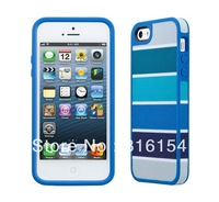 1 piece/lot FabShell Blue/Gray Color of Rectangle fabric-backed Case Cover Skin For iPhone 5 fabric back case