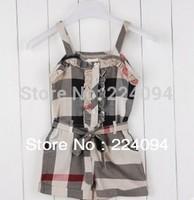 Free shipping 2014 kids plaid jumpsuit baby grils leggings  3colors  fashion  kidd jumpsuit