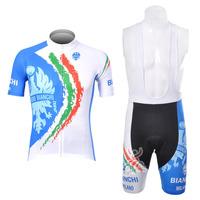 2012 BIANCHI Short Sleeve Cycling Jerseys & Cycling Bib Shorts Set, Cycling Wear, Cycling Clothing for Men