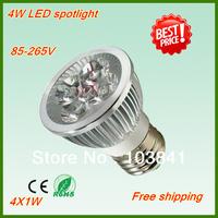 New wholesale 6pcs/lot 2 year warranty 85V-240V 4W E27 LED Spotlight White/Warm white/Cool white led light bulb free shipping