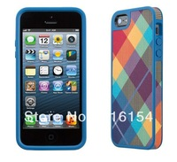 1 piece/lot  FabShell rainbow color of Rhombus square cross plaid fabric-backed Case Cover Skin For iPhone 5 fabric back case