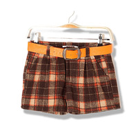 2013 spring women's a8929 casual all-match plaid woolen shorts strap